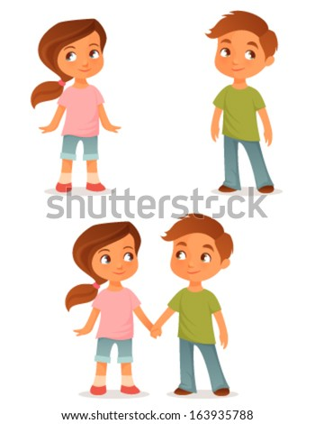 cute cartoon kids, either a brother and sister or little friends, holding hands - stock vector