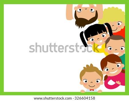 Cute cartoon kids frame - stock vector