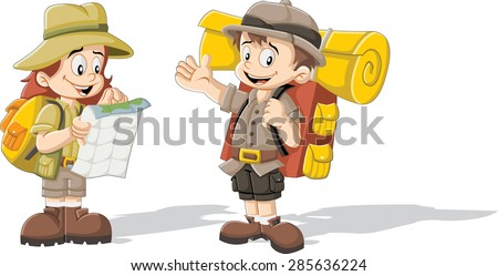 Cute cartoon kids in explorer outfit - stock vector