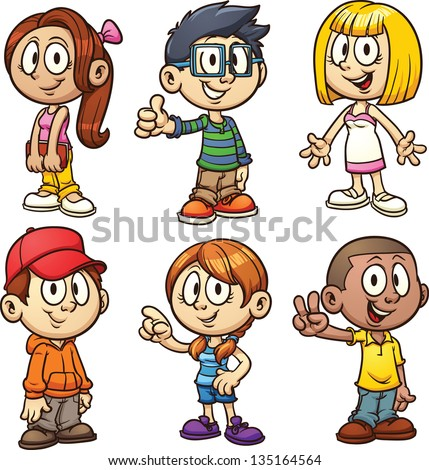 cute cartoon kids vector clip art illustration with simple gradients each in a separate