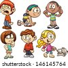 Cute cartoon kids. Vector illustration with simple gradients. Each on a separate layer. - stock