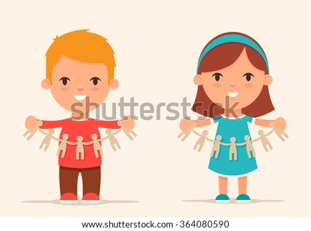 Cute Cartoon Kids with Paper People. Colorful Vector Illustration