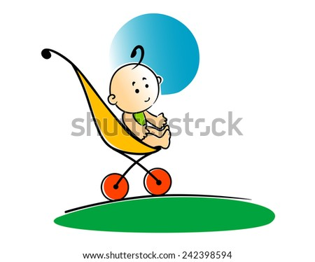 Cute cartoon little baby sitting in a stroller or push chair outdoors on the grass - stock vector