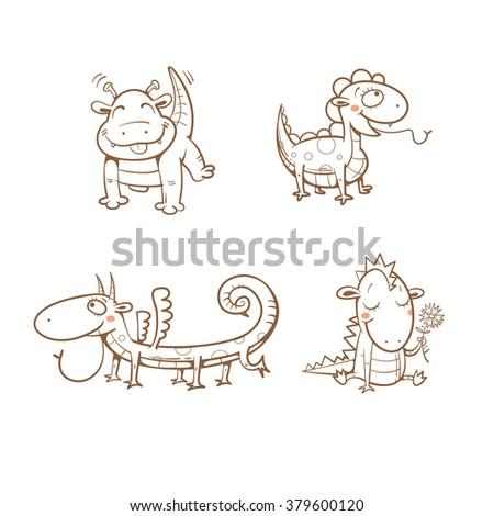 Cute cartoon  little dragons set. Vector image. - stock vector