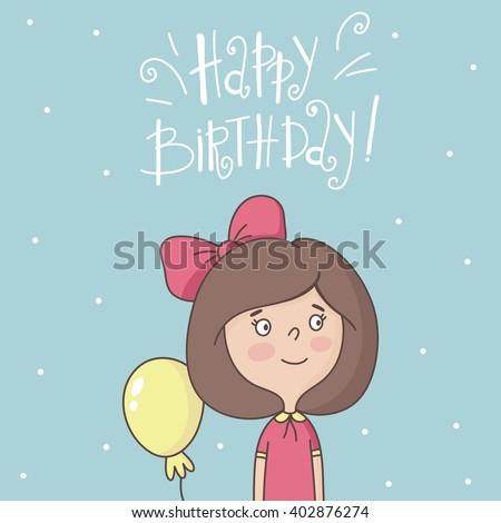 Cute cartoon little girls. Happy Birthday card - stock vector