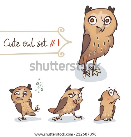Cute cartoon little owls set. Character design. Vector illustration, EPS 10. Contains transparent objects - stock vector