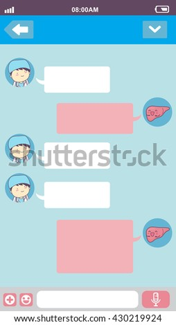 cute cartoon liver with doctor in smart phone chat bubbles with blank text, great for your degisn - stock vector