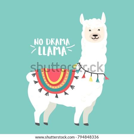 cute cartoon llama vector design no stock vector 794848336