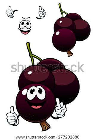 Cute cartoon maroon currant berry fruit character with smiling face and little hands