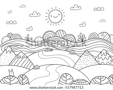 cute cartoon meadow with mountain bunny and river kids coloring page