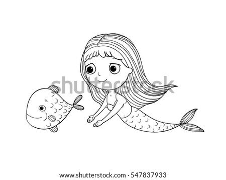 cute cartoon mermaid and fish siren sea theme hand drawing isolated objects on