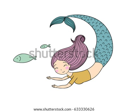 cute cartoon mermaid and fish siren sea theme isolated objects on white background