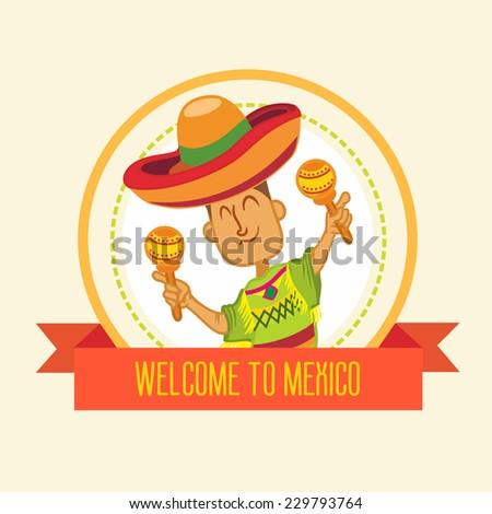 Cute cartoon mexican as logo element or illustration. Vector illustration - stock vector