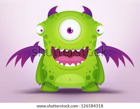 Cute Cartoon Monster - stock vector