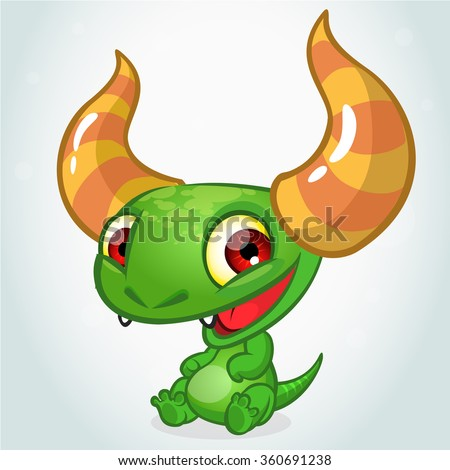 Cute cartoon monster dragon. Vector  character - stock vector
