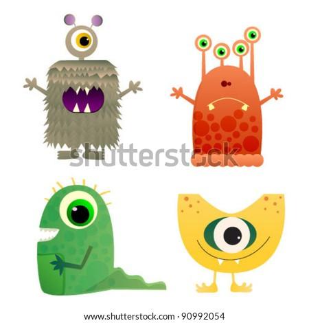 Cute cartoon monster isolated. Vector illustration - stock vector