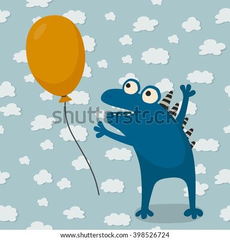 Cute cartoon monster with balloon. Positive childish background with happy cartoon monster. Vector illustration - stock vector