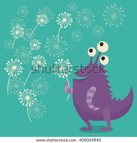 Cute cartoon monster with dandelions. Childish background with bright vector cartoon monster.  - stock vector