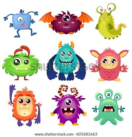 cute cartoon monsters stock vector 605681663 shutterstock rh shutterstock com images of cartoon monsters images of cartoon monsters