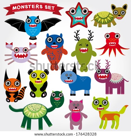 Cute cartoon Monsters Set. Big collection on a white background. vector - stock vector