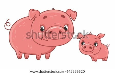 Cute cartoon mother pig with her cub. Vector illustration for kids