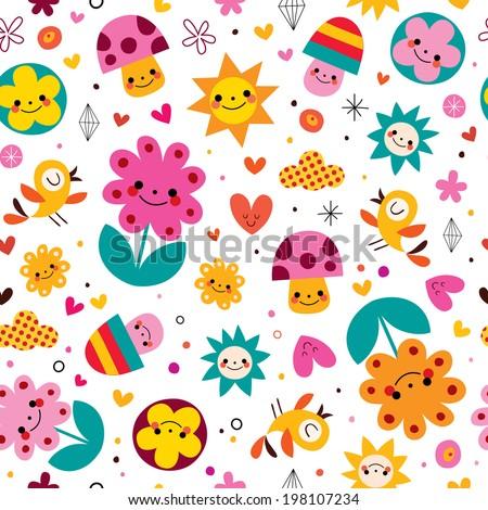 cute cartoon mushrooms, flowers, hearts & birds nature seamless pattern - stock vector