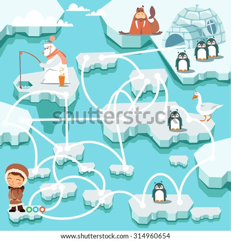 Cute cartoon north pole maze game. Help little boy with finding right way to his home. Penguins, bear on ice. Game for children. Vector illustration - stock vector