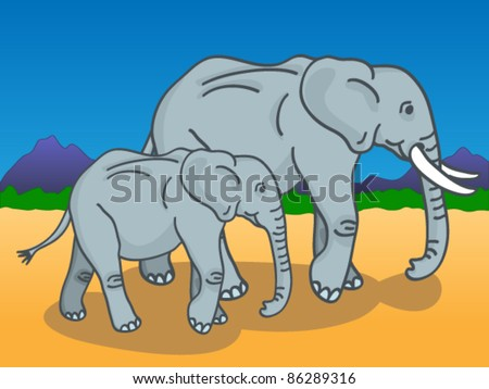 Cute cartoon of a mother and baby elephants walking under the sun in the African savannah with mountains and trees in the background.