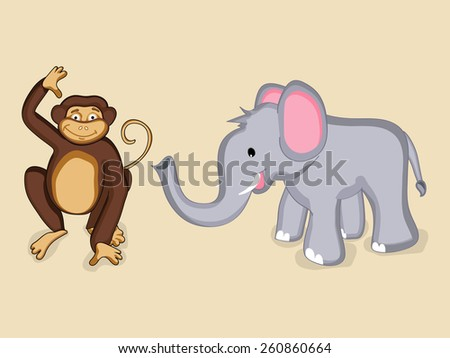 Cute cartoon of smiling elephant and monkey characters - stock vector