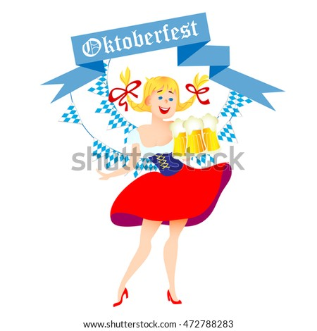 Cute cartoon Oktoberfest german girl waitress in traditional clothes with beer. Vector illustration