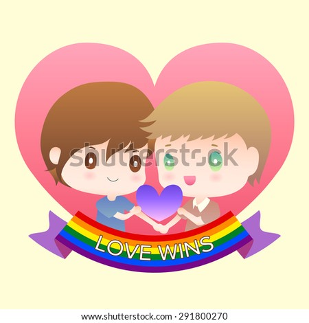 cute cartoon or mascot gay man lover in heart shape with lgbt flag