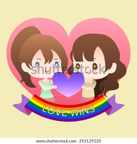 cute cartoon or mascot lesbian woman lover in heart shape with rainbow flag