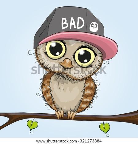 Cute cartoon owls on a branch - photo#26