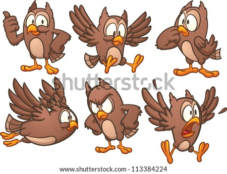Cute cartoon owl in different poses. Vector illustration with simple gradients. Each in a separate layer. - stock vector