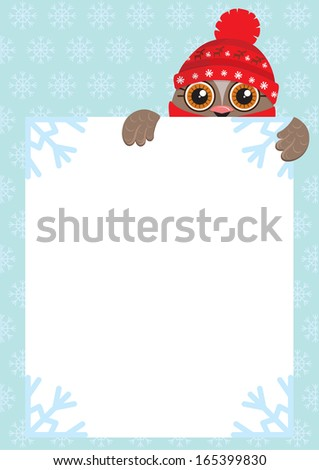 Cute cartoon owl wearing a warm cap, holding a white sheet. Free space for your text message. Snowflakes on the background. Vector illustration. - stock vector