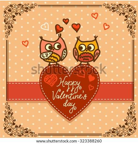 Cute cartoon owls birds pattern background.  Valentines Day design. - stock vector