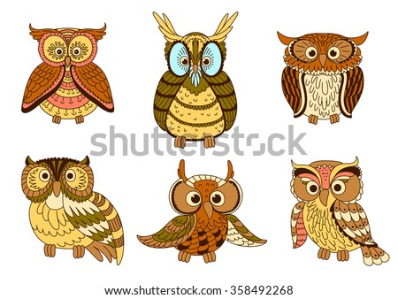 Cute cartoon owls, owlets and eagle owl birds with ornamental feathers, decorated by strips and spots in pastel colors. Halloween mascot, education emblem, childish book design - stock vector