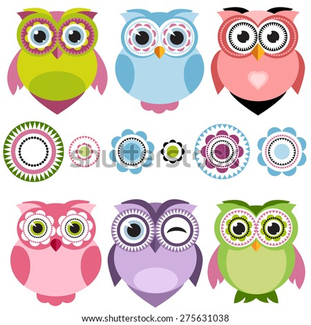 Cute cartoon owls set - stock vector