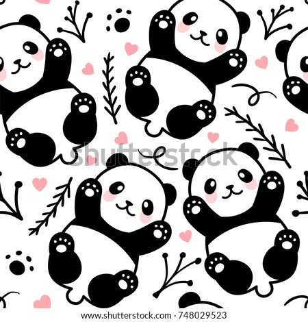 cute cartoon panda seamless pattern background stock vector royalty rh shutterstock com Cute Cartoon Unicorns cute baby panda cartoon pictures