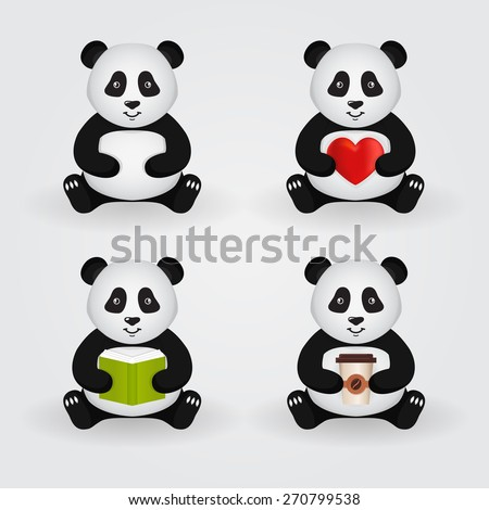 Cute cartoon pandas isolated on light background. Set of pandas holding a different things: heart, book, cup of coffee. Vector illustration. - stock vector