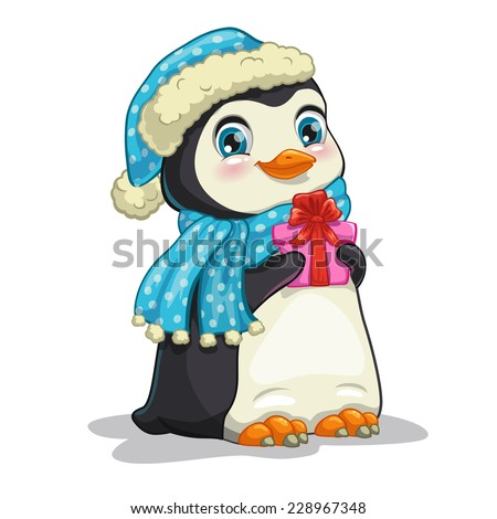 Cute cartoon penguin with gift box, hat and scarf. Isolated illustration on the white background. - stock vector