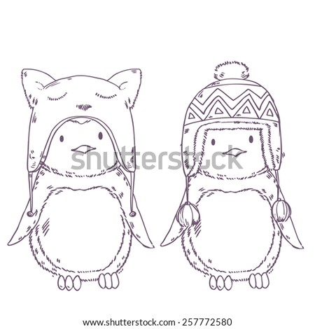 Cute cartoon penguins friends in winter funny hats together. Vector illustration - stock vector