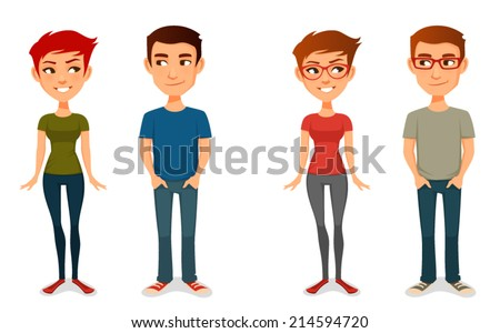cute cartoon people in casual outfits, with glasses - stock vector