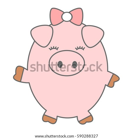 cute cartoon pig vector illustration isolated on white background
