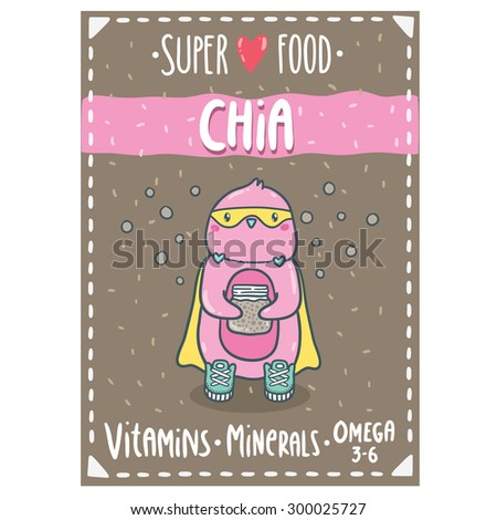 Cute cartoon pink penguin superhero holding mason jar with chia seeds. Chia seeds superfood vector illustration. Adorable animal clip art. Label, tag, sticker design for your package.