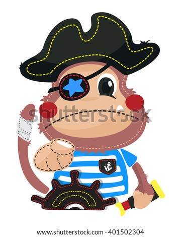 Cute cartoon pirate monkey with his finger pointing to the front. on a white background vector. - stock vector