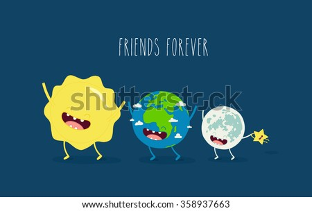 Cute cartoon planet earth, sun, moon and star. Earth day background.