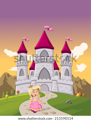 Cute cartoon princess girl in front of a fairy tale castle  - stock vector