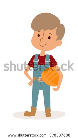 Cute cartoon profession builder kid and builder boy with helmet. Builder boy cheerful construction worker child. Young protective repair. Little cartoon builder boy in uniform with tools helmet vector - stock vector