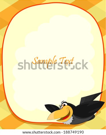 Cute cartoon raven with frame - stock vector